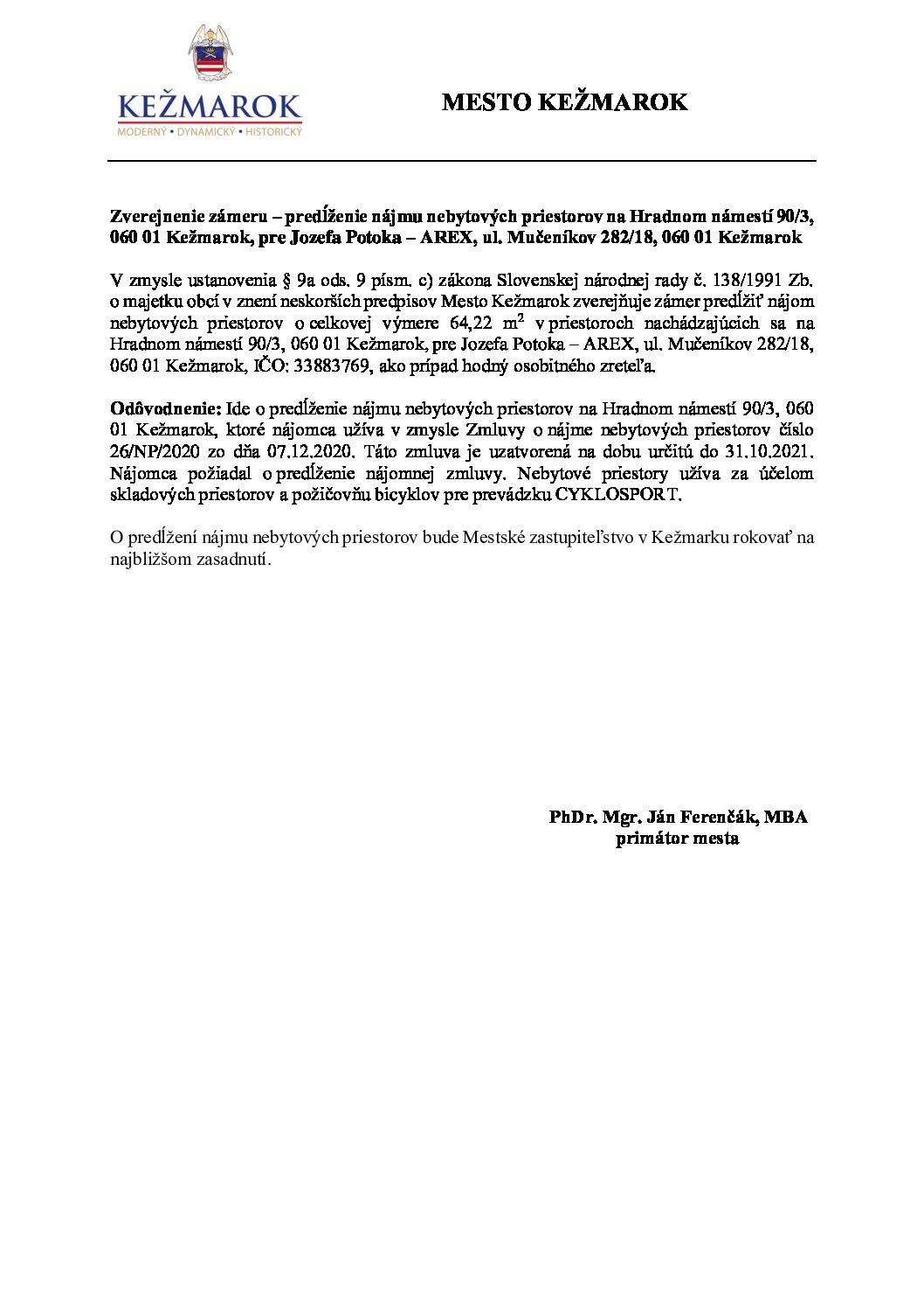Zverejnenie zámeru - predlženie nájmu na Hradnom námestí č. 3 060 01 Kežmarok