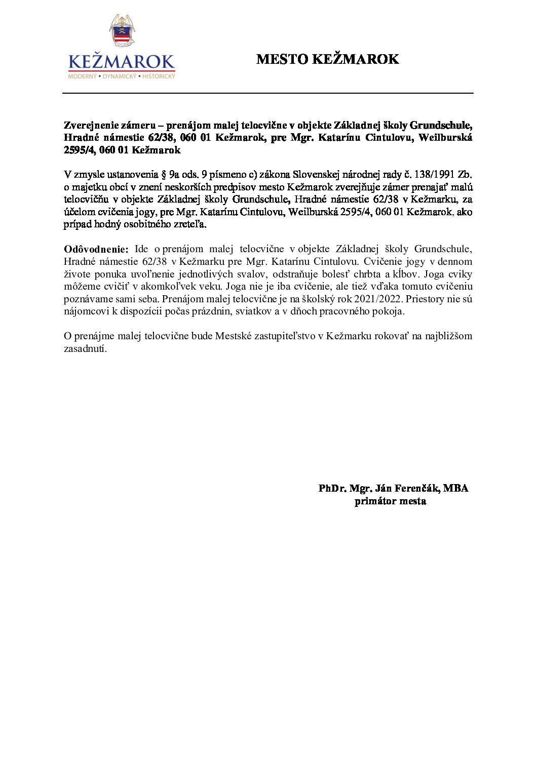 Zverejnenie zámeru - prenájom malej telocvične v objekte ZŠ Grundchule Kežmarok